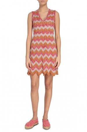 M Missoni - Abito chevron lurex orange