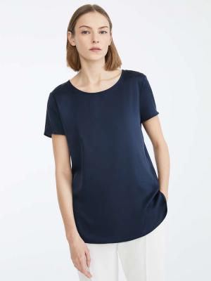 Max Mara - CORTONA - T-Shirt in seta blu