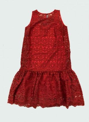 D-Exterior 50712-14COCCIO Abito rosso tessuto azteco