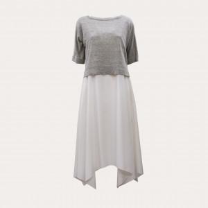 Fabiana Filippi ABD270W369-0000-A735-VR1 Abito in cotone, bianco e grigio