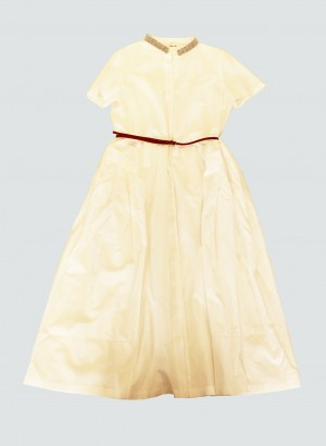 Fabiana Filippi ABD270W379-0000-A742-21 Abito in lino e cotone, bianco