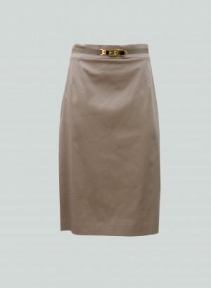 Clips More - Gonna beige con fibbia oro su cinturino