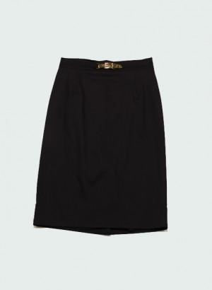 Clips More - Gonna nera con fibbia oro su cinturino