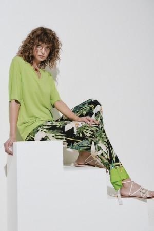 Clips Tricot - Tunica verde con clip bambù su scollo