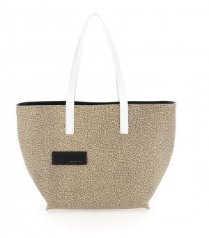 Borbonese - Shopping Bag Large tela graffiti colore bianco