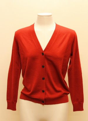 Burberry 4003842 Cardigan rosso in lana merino
