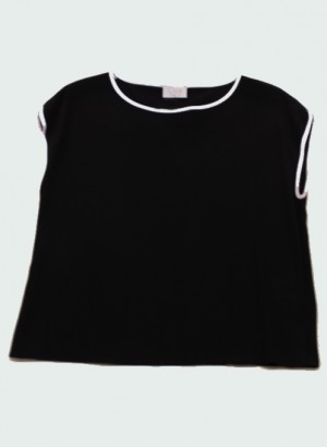 Clips More - Top con profili a contrasto nero/bianco