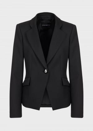 Emporio Armani 0NG37T020011999 Giacca monopetto in lana vergine stretch nera