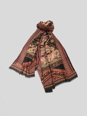 Etro 202R100074500000101 Sciarpa in lana e seta fantasia floreale