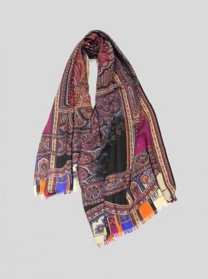 Etro 202R117774508000101 Sciarpa in lana e seta con stampe fantasia