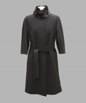 Heresis M95100-C100-27 Cappotto manica 3 4 collo pistagna visone nero