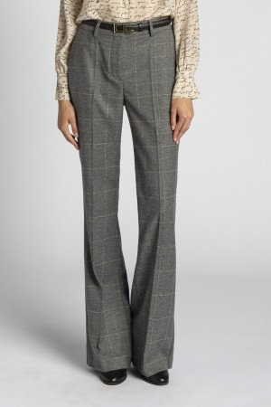 Les Copains 0L30313102 Pantalone flair overcheck grigio