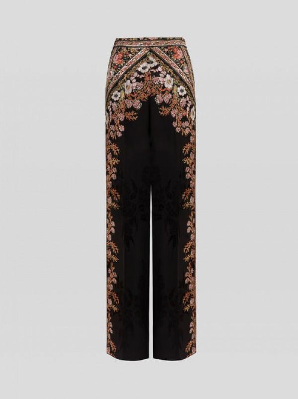 Etro 202D1884651520001 Pantaloni palazzo con fiori e nastri stampati