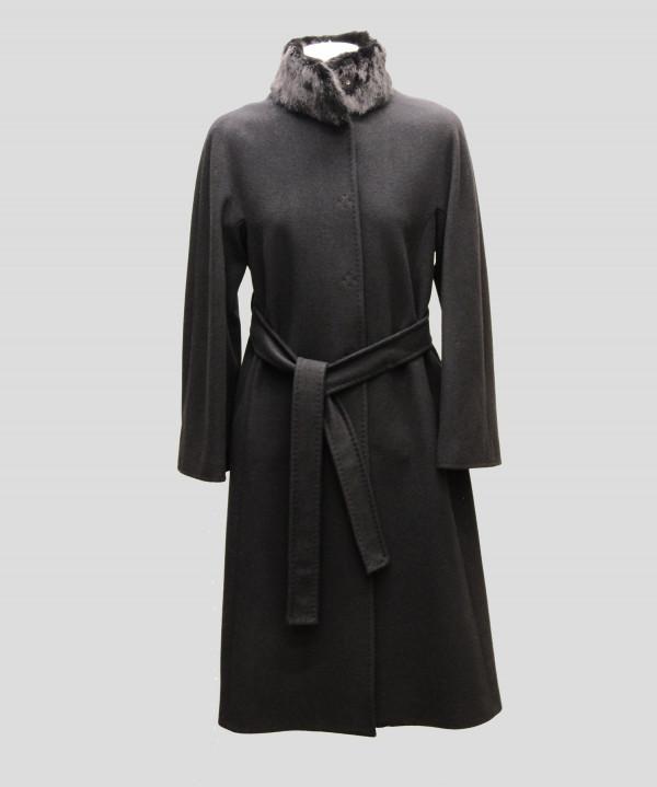 Heresis M95ML110-C100-27 Cappotto lungo 110 con pistagna visone Nero